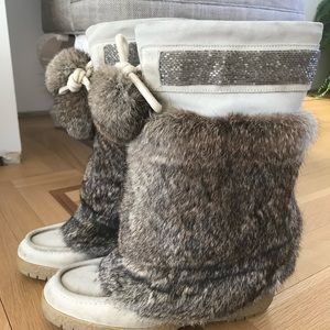 Coach Maryann Suede & Rabbit Fur Boots 8.5
